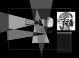 Questa immagine è caratterizzata dallo studio con cui sono posizionati gli elementi geometrici ed il modo in cui si intersecano con i soggetti  fotografati. L'occhio al posto dell'obiettivo o della pellicola/sensore fotografico, crea un osmosi tra me stesso/fotografo e fotografia/stessa.  La composizione  realizza uno spazio dove i poligoni si compenetrano gli uni agli altri dando luogo ad una armonia costruttiva,  una vibrazione luminosa proveniente dai diversi rapporti tonali.  Il pennello di mio nonno che utilizzo ancora oggi: una natura morta espressa come immagine e la fotografia stessa che sospende la vita, ma permette comunque di compiere un salto fuori dal tempo.   L'autoritratto può essere una sorta di confessione, perché l'intimità passa dagli occhi e non da un corpo.