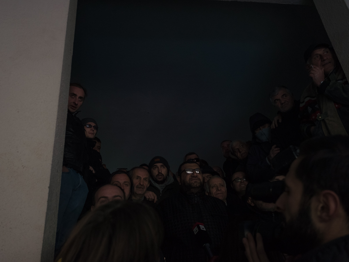 GD (pro Russian party) members on the stairs of the party headquarter in Kutaisi.